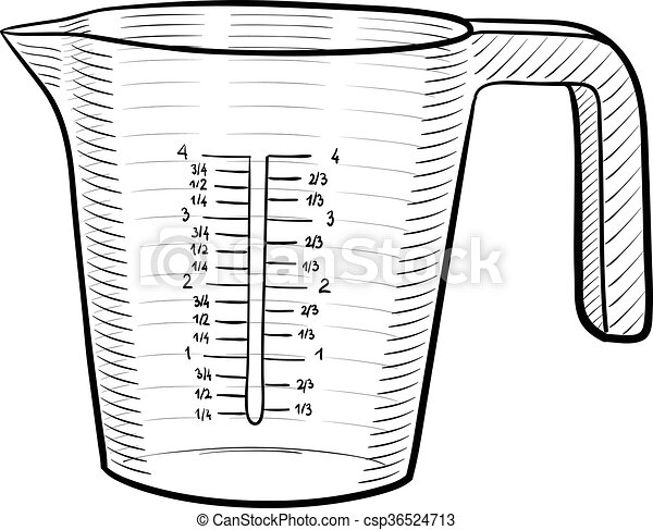 measuring cup a line art illustration of a measuring cup rh canstockphoto com Cartoon Measuring Cup Dry Measuring Cups