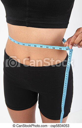 Measuring waist of a slim woman - csp5834053