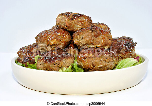 meat balls and with organic salad on a plate - csp3006544
