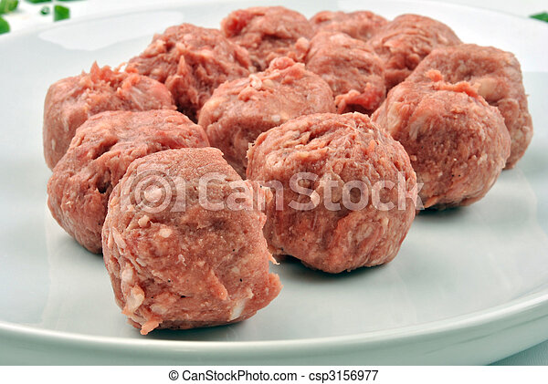 meat balls with organic parsley on a plate - csp3156977