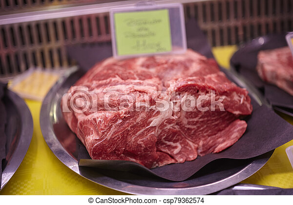 Meat cuts in the butchery counter - csp79362574