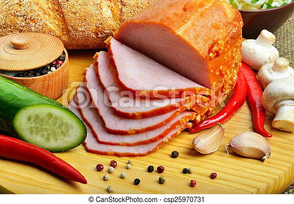 Meat ham with cucumber, raw champignon mushrooms, red pepper, ga - csp25970731