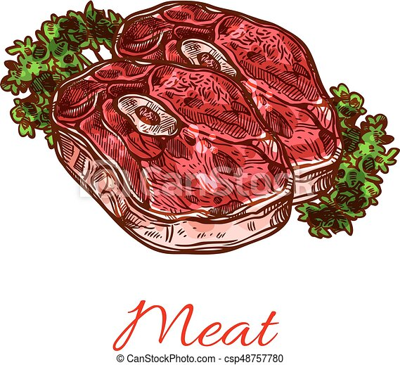 Meat steak isolated sketch for food design - csp48757780