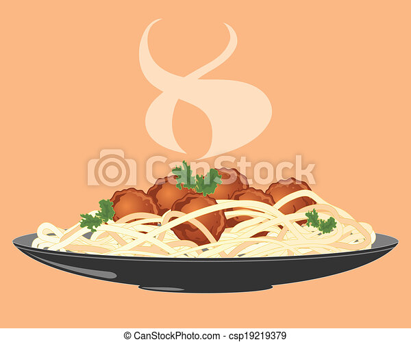 Meatballs and spaghetti. An illustration of a plate of ...