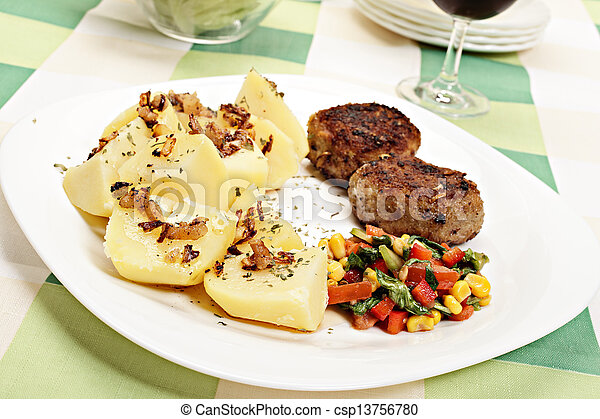 Meatballs with boiled potatoes - csp13756780