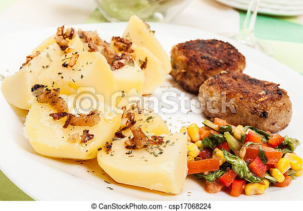 Meatballs with boiled potatoes - csp17068224