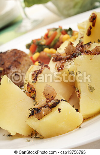 Meatballs with boiled potatoes - csp13756795