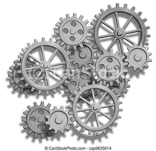 meccanismo, astratto, bianco, isolato, ingranaggi - csp9635614