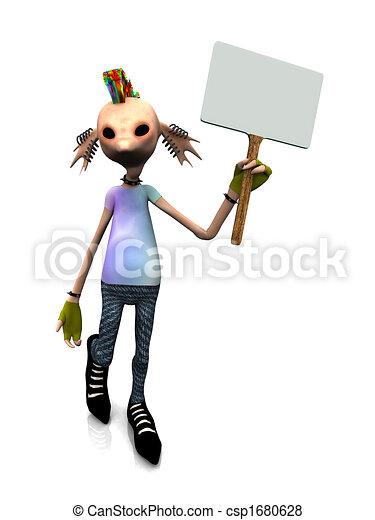 Cartoon punk rocker con signo en blanco - csp1680628