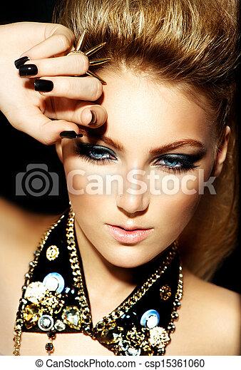 mecedora, estilo, moda, peinado, portrait., modelo, niña - csp15361060