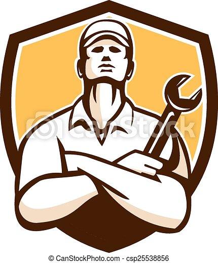 mechanic arms crossed wrench shield retro illustration of a rh canstockphoto com mechanic logo clocks mechanic logo psd