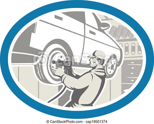 Mechanic Changing Car Tire Repair Retro - csp19501374