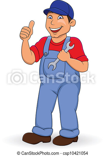 Mechanic man with thumb up - csp10421054