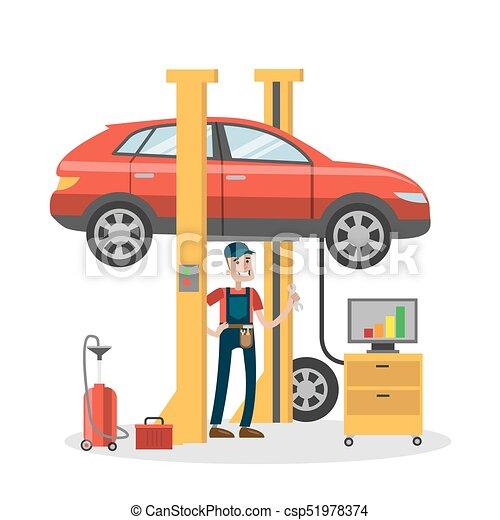 Mechanic repairing car. - csp51978374