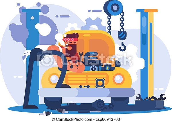 Mechanic repairing car in garage - csp66943768