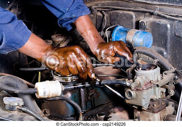 mechanic repairing vehicle - csp2149226