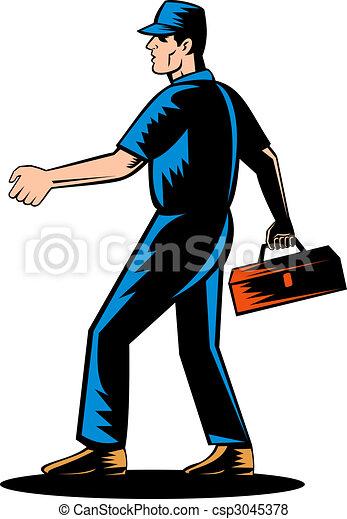 Mechanic tradesman extending hand - csp3045378