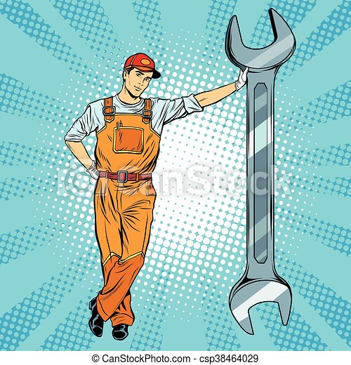 Mechanic with a wrench - csp38464029