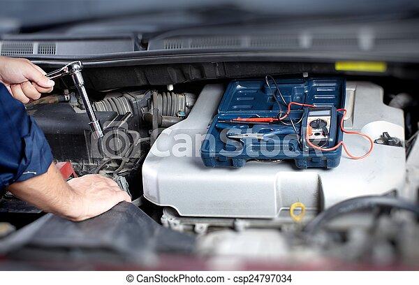 Mechanic working in auto repair garage - csp24797034