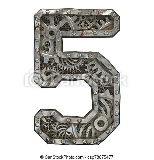 Mechanical alphabet made from rivet metal with gears on white background. Number 5. 3D - csp78675477
