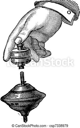 Mechanical Buzzing Top, vintage engraving - csp7338979