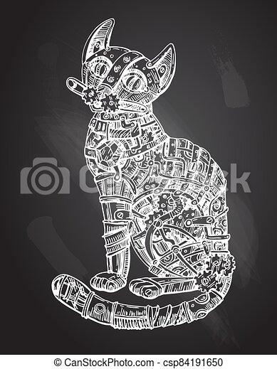 Mechanical cat. Hand drawn vector illustration. - csp84191650