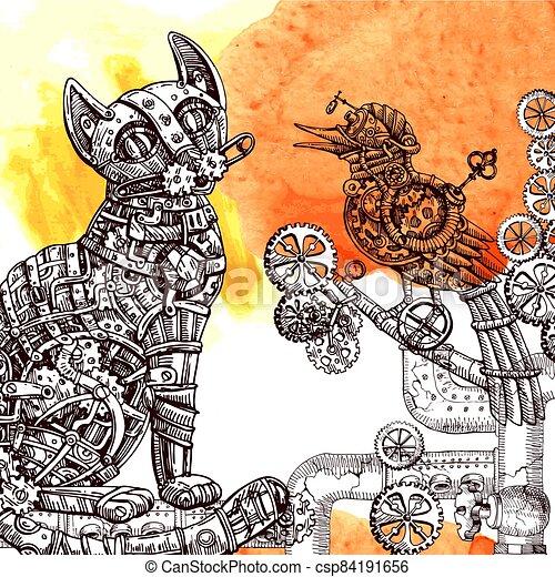 Mechanical cat. Hand drawn vector illustration. - csp84191656