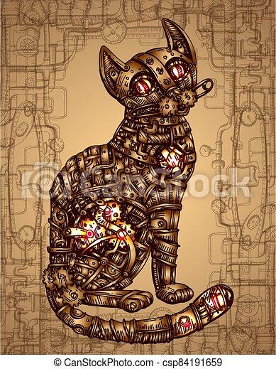Mechanical cat. Hand drawn vector illustration. - csp84191659