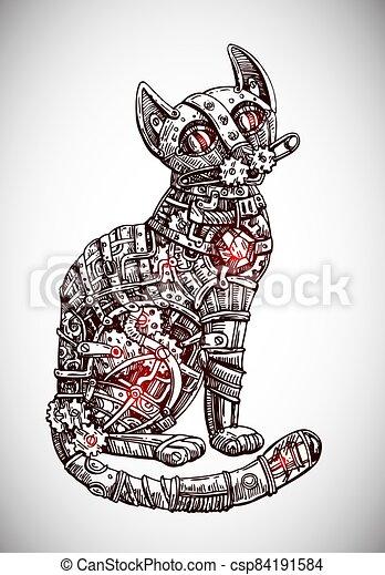 Mechanical cat. Hand drawn vector illustration. - csp84191584