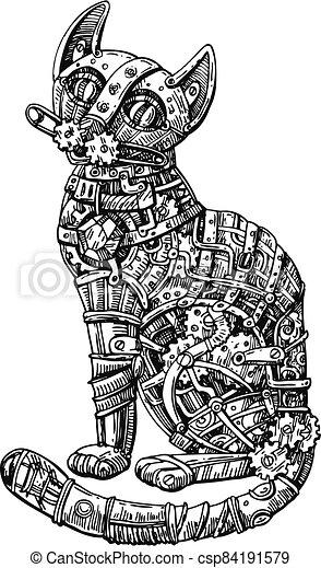 Mechanical cat. Hand drawn vector illustration. - csp84191579