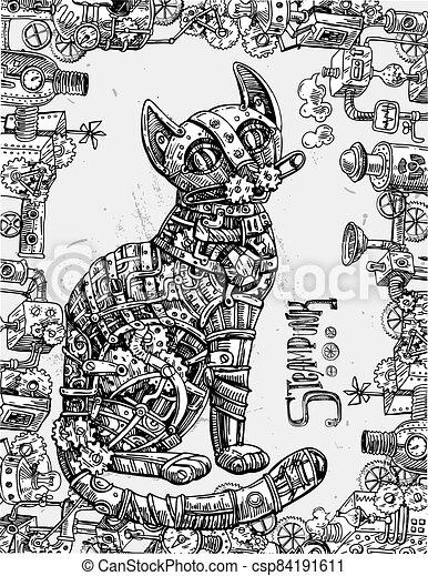 Mechanical cat. Hand drawn vector illustration. - csp84191611