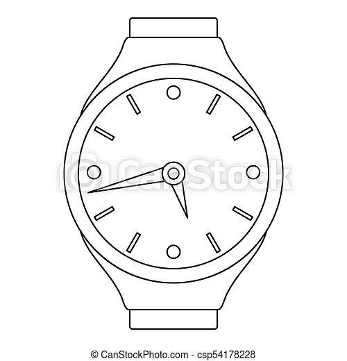 Mechanical clock icon, outline style. - csp54178228
