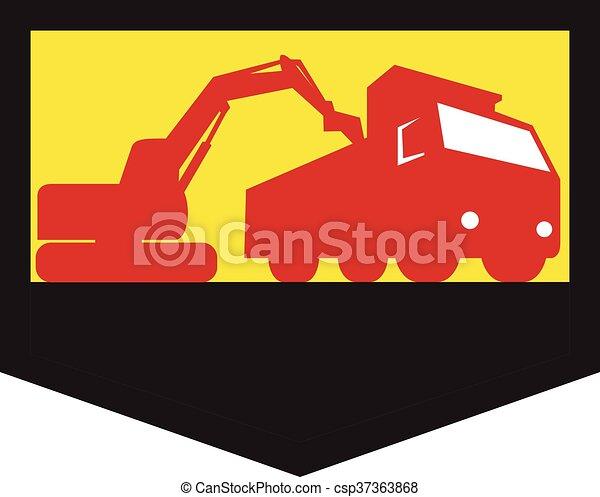 Mechanical Digger Loading Dump Truck Shield Retro - csp37363868