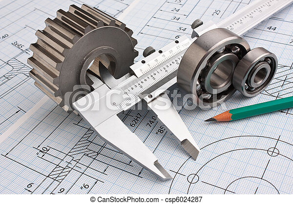 Mechanical drawing and pinion. Technical drawing and pinion with ...