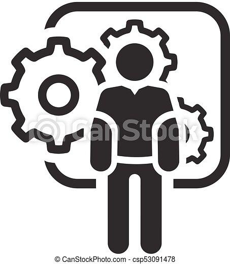 Mechanical Engineering Icon Man And Gears Development Symbol Flat