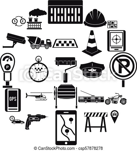 mechanical engineering icons set simple style mechanical