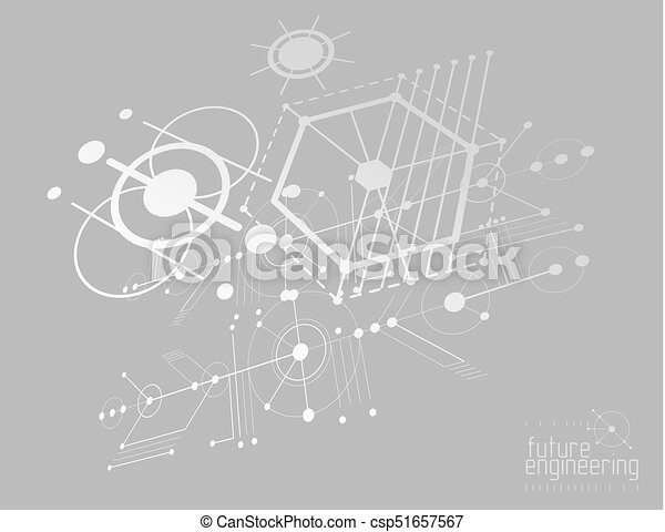 Mechanical engineering technology vector abstract background, cybernetic abstraction with innovative industrial schemes. - csp51657567