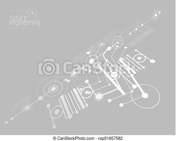 Mechanical engineering technology vector abstract background, cybernetic abstraction with innovative industrial schemes. - csp51657582