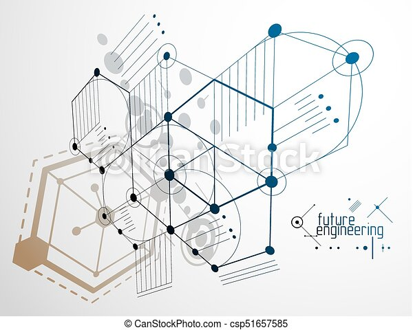 Mechanical engineering technology vector abstract background, cybernetic abstraction with innovative industrial schemes. - csp51657585