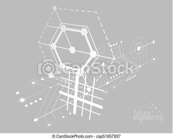 Mechanical engineering technology vector abstract background, cybernetic abstraction with innovative industrial schemes. - csp51657937