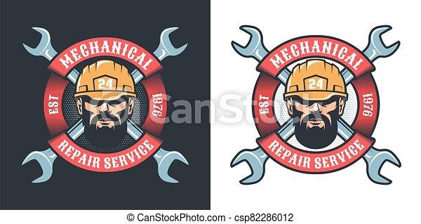 Mechanical repair service with beard man in helmet - csp82286012