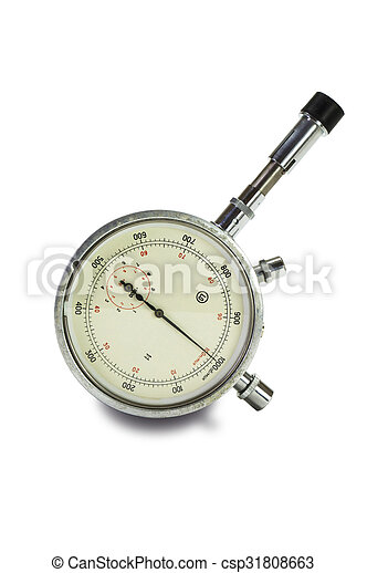 Mechanical tachometer is insulated on light background - csp31808663
