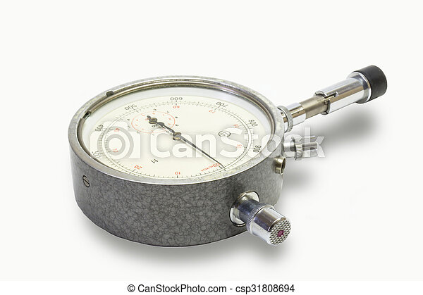 Mechanical tachometer is insulated on light background - csp31808694