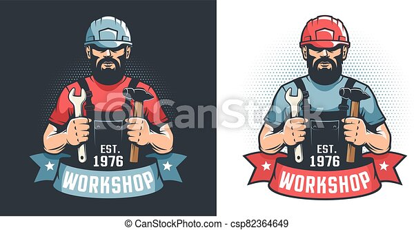 Mechanical Workshop vintage logo - handyman in hard hat with hammer and wrench - csp82364649