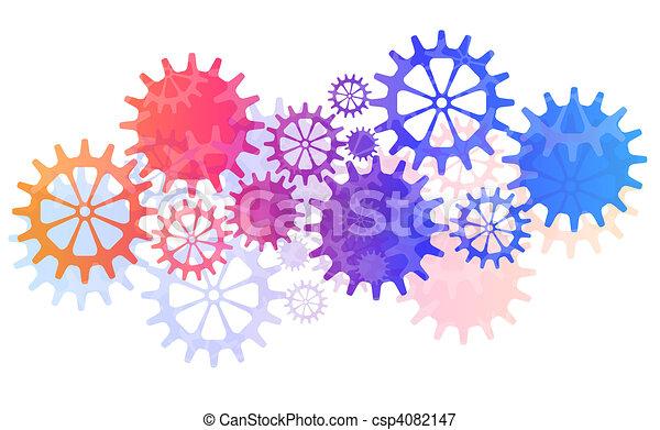 mechaniczny, wektor, mechanizmy, tło, cogs. - csp4082147