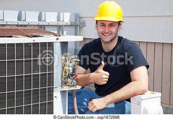 mechaniker, condioner, thumbsup, luft - csp1672998