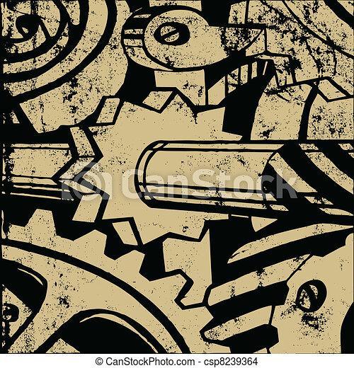 mechanism on old paper, vector illustration - csp8239364