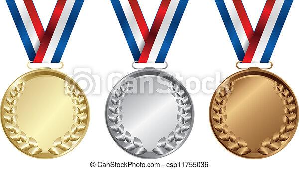 medailles, drie, goud, winnaars, zilver, brons - csp11755036