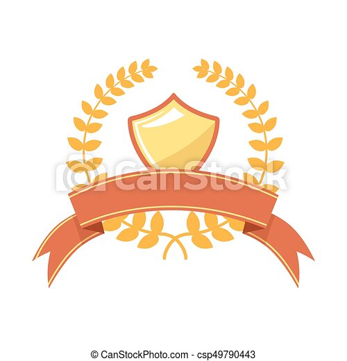 Medal Engraving Template With Gold Shield And Laurel Wreath