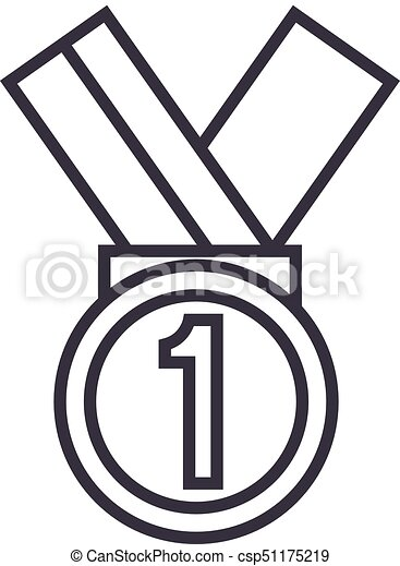 medal first place vector line icon sign illustration on vector rh canstockphoto com first place rosette clipart first place ribbon clipart